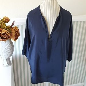 Vince 100% Silk Zip Front Navy Tunic Top Small